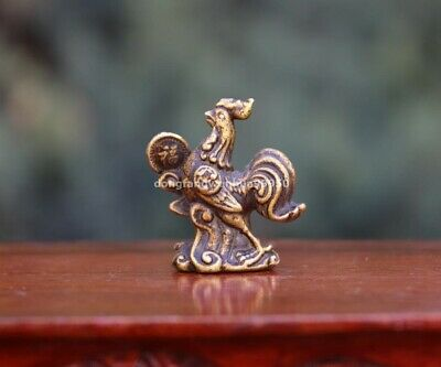 4 cm China Pure Copper Bronze Zodiac Year Chicken Rooster Cock Animal Statue