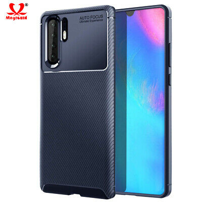 Luxury Carbon Fiber Texture Case For Huawei P20 P30 Pro Slim Soft Silicone Cover
