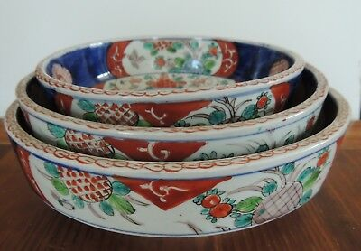 "Set of 3 Nesting Antique JAPANESE BOWLS Hand Painted 10"", 9"", 7 1/2"" Bowls"