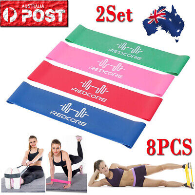 4/8X Resistance Bands for Exercise Men and Women Legs Arms Booty Yoga Physio OZ