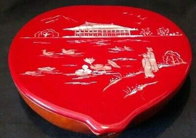 Japanese Carved Black And Red Lacquer Gourd Box With Fine Mother of Pearl Inlay