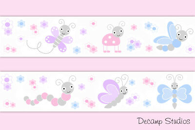 Pink Purple Butterfly Ladybug Baby Girl Nursery Wallpaper Border Wall Art Decals