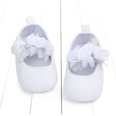 Baby Girls White Christening Baptism Lace Flower Shoes Prewalker size 0-2Years