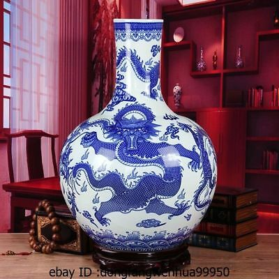 21 China Jingdezhen Blue and white Porcelain Dragon Decoration Bottle Pot Vase