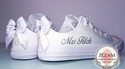 56698196fdaf Personalised Crystal Bling Sparkle Mono Converse Wedding Bridal Prom Shoes