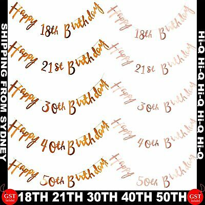 Glitter Happy Birthday Letter Bunting Garland Banner Party 21st 18 30 50th Favou