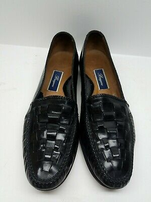 cd9a4b4488c Bragano Mens Black Leather Woven Slip On Loafers Crafted In Italy Size 13 M