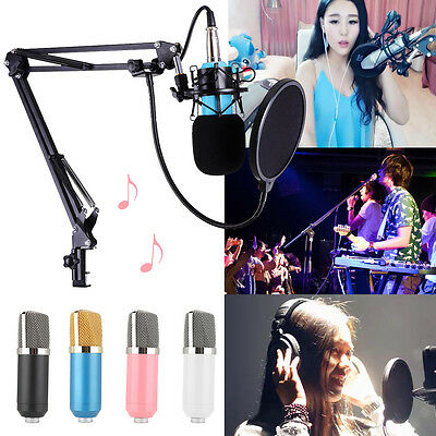 BM-700 Studio Broadcasting Condenser Microphone+Shock Mount+Arm Stand+Pop Filter