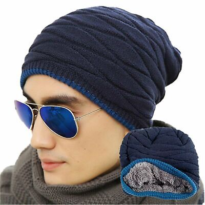 94c80b346bc Men s Soft Lined Thick Knit Skull Cap Warm Slouchy Beanies Hat For Winter  New