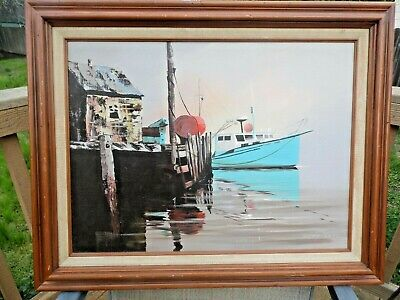 "Howard Layte Listed CA artist Original Acrylic Painting ""Harbor Scene"" Sgnd/Frmd"