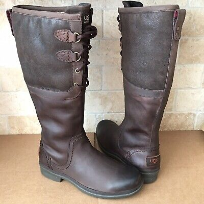 6698a04dee4 UGG ELSA TALL Brown Bomber Leather Waterproof Rain Snow Boots Size ...