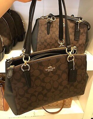 5bddd09e3a NWT Coach Signature Small Christie Carryall Satchel F58291 - Brown   Black