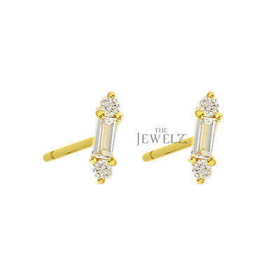 14K Gold 0.14 Ct. Genuine Round And Baguette Diamond Minimal Stud Fine Earrings
