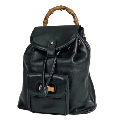 7b6fcb33704 GUCCI BAMBOO MINI Backpack Shoulder Day Bag Green Suede Leather Used ...