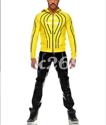 Latex Uniform Men Black Yellow Kapuzenoberteil und Freizeithose Suit Size S-XXL