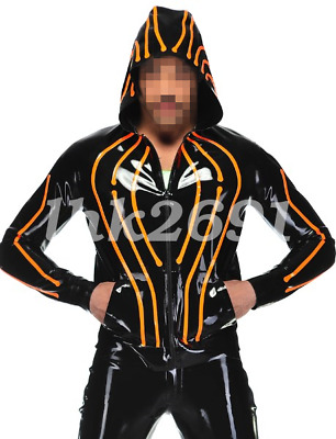 0.4mm Latex Top Men Schwarz und orange Mantel mit Kapuze With Zipper Size S-XXL