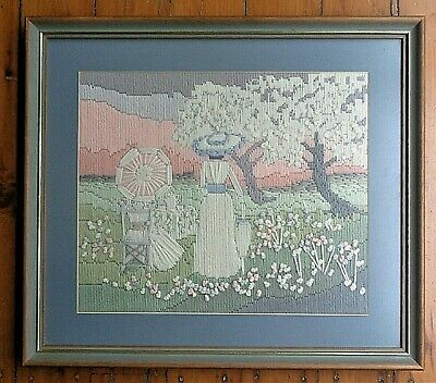 Vintage Completed Long Stitch Picture *Whimsical Victorian Lady with Parasol