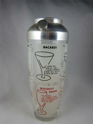 Vintage Retro Cocktail Shaker Drink Mixer w/Recipes, Aluminum & Glass Barware