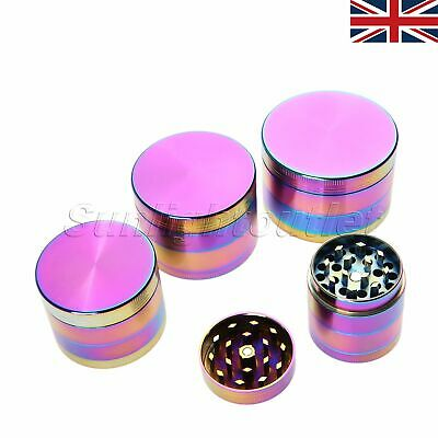 UK STOCK 40-63mm 4 Layers Herbal Spice Crusher Muller Tobacco Grinder Zinc Alloy