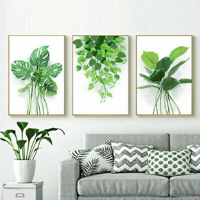 Nordic Watercolor Tropical Plant Leaves Art Poster Painting Nature Wall Decal