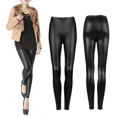 Women's Faux Leather Stretch Skinny Pencil Pants Slim Tights Trousers Welcome