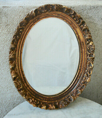 """Antique French Oval Wood Gold Gilt Frame / Hanging Wall Mirror 14.25""""x11.5"""""""