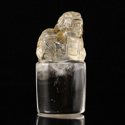 China old antique Old crystal Natural handcarved dragon seal statue