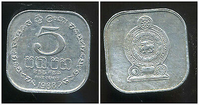 Sri lanka 5 cents 1988 20mm  alu coin UNC but with rust
