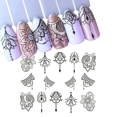 13 Sheets Nail Art Water Decals Stickers Transfers Necklace Gems Flowers Lace UK
