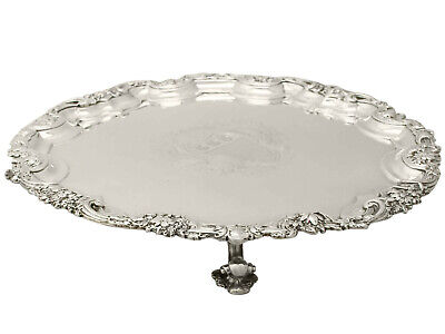 Sterling Silver Salver - Antique George II 1312g Diameter 32cm