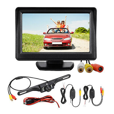 "4.3"" LCD Wireless Backup Camera Monitor Kit For Car SUV Car Rear View Reverse"
