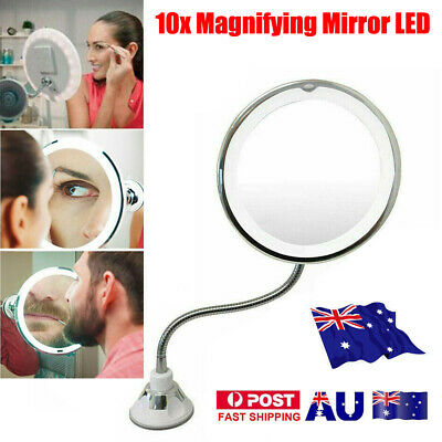 10X Magnifying Makeup Mirror Suction Wall Mount 360 Rotation with LED Light UE