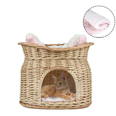 Double Pet Dog Cat Bed Woven Rattan Basket Igloo Cave Basket House with Cushion