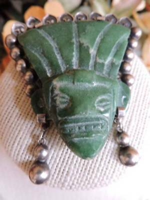Large Vintage Old Mexico Silver Carved Green Stone Tribal Face Mask Pin SIGNED