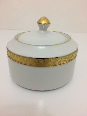 Centurion Collection 9414 Pure Gold White with Gold Sugar Bowl with Lid