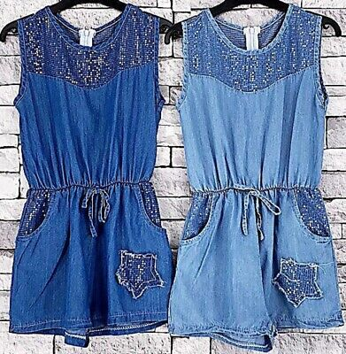 Girls Kids Summer Holiday Shorts Denim Bling Print Jumpsuit Playsuit All In One