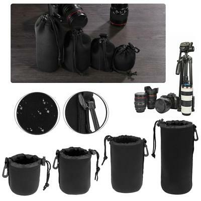 Soft Nylon Camera Lens Pouch Bag Drawstring Protector Case Waterproof S/M/L/XL
