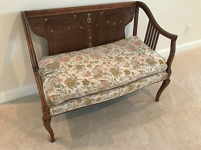 Antique Mother Of Pearl Inlaid Parlor Settee Mahogany Loveseat  Edwardian Style