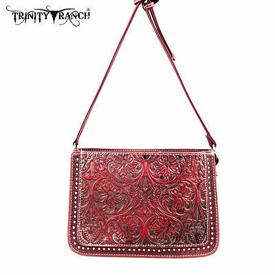 Trinity Ranch Montan Floral Tooled Messenger Bag Purse w/ Leather Front ~ Red