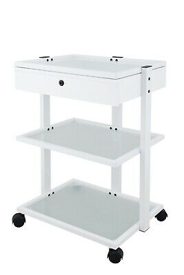 Luxury Glass Trolley - With Drawer - White