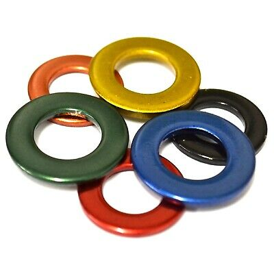 3mm 4mm 5mm 6mm 7mm 8mm RED BLUE BLACK BRASS COPPER GREEN Stainless Flat Washers