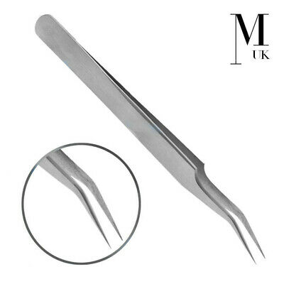 Precision Tweezers Eyebrow Curved Elbow Head Craft Fine Brow Definition Eyelash
