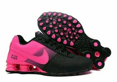 quality design a9cc5 7823a NEW WOMEN BLACK and Pink Nike Shox Deliver Athletic Running Shoes