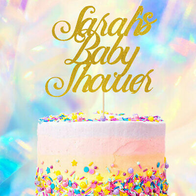 Personalised Custom Name Baby Shower Cake Topper Customised Glitter Party Decor