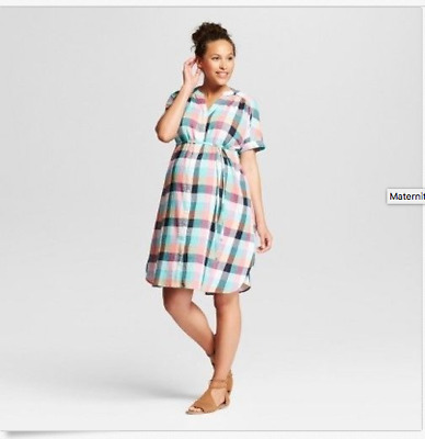ec096c3d58575 Maternity Plaid Dolman Tie Waist Shirt Dress - Isabel Maternity-Various  sizes