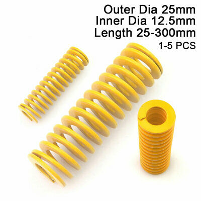 25mm OD Yellow Extra Light Load Compression Mould Die Spring 12.5mm ID All Sizes
