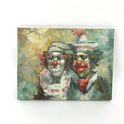 "Vintage William Moninet Signed Oil on Canvas Clown Painting 2 Clowns 16"" x 12"""