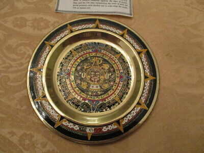 Vintage Mexican Hand Tooled 5 1/2 Copper Aztec Mayan Sun Calendar Wall Plate