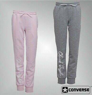 Girls Converse Ribbed Ankle Cuffs Loopback Jersey Joggers Pants Sizes 8-14 Yrs