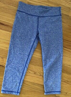 Ivivva RHYTHMIC CROPS Blue White Capri Cropped Leggings Athletic Size 12 Years